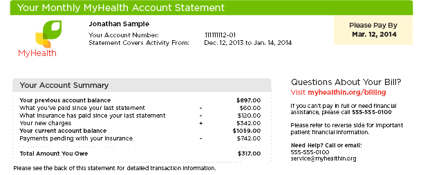 Account summary for consolidated  patient statement